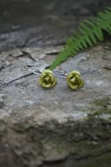 Náušnice - Zelené ružičky - 10741579_