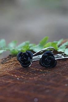 Náušnice - Čierne ružičky - 10741535_