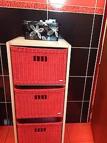 Košíky - Červená sada do kúpelne - 10741538_