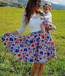 Sukne - Dámska kruhová sukňa Folk kvety - 10741746_
