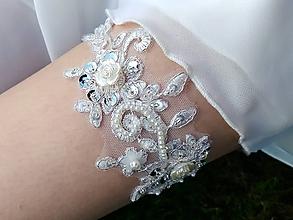 Bielizeň/Plavky - Luxusný svadobný podväzok krajka perličky - 10740963_