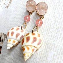 Náušnice - Druzy, Cherry Quartz & Shell Earrings / Náušnice s cherry krištáľom, drúzou a mušľou - 10742211_