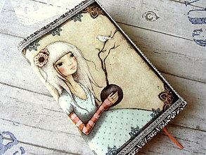 Papiernictvo - Dievčinka s vtáčikom... obal na knihu - 10742779_