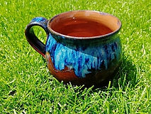 Nádoby - Šálka modro hnedá - 10743413_