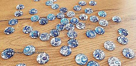Komponenty - Mix kabošonov 14 mm - Modré folk - 48 kusov - 10744335_