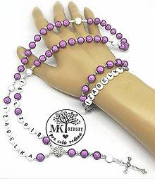 Iné šperky - Žiarivý ruženec bez shamballa  (Fialový) - 10742950_