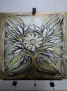Obrazy - Strom života s mandalou - olejomaľba - 10743743_