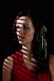 Ozdoby do vlasov - čierno-biely hairclip do vlasov 28 cm - 10744447_