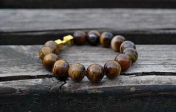 Šperky - Tigrie oko náramok s činkou - 10742384_