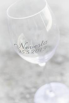 Papiernictvo - Nálepka na svadobný pohár - Nevesta/Ženích + dátum - 10742046_