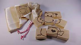 Hračky - Obrázková drevená skladačka-Hroch - 10743027_