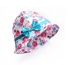 Detské čiapky - Letný klobúčik plameniaky tyrkis - 10744494_