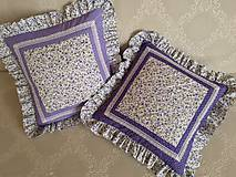 Úžitkový textil - Fialové vankúše s volánmi - 10742961_