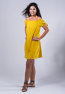 Šaty - šaty off shoulder (Žltá) - 10742541_