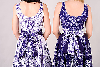 Šaty - Folky blue-Folky White - pinup šaty - 10743139_