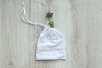 Úžitkový textil - Biele vrecúško čerešne - 10742449_