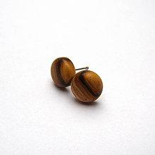 Náušnice - Drevené náušnice napichovacie - brestové vypuklé ďobky s prelivom - 10742226_