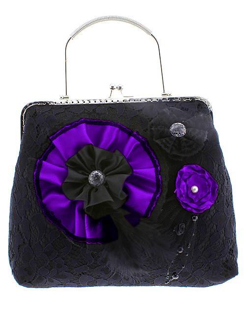 gothic dámská, kabelka spoločenská čipková kabelka čierná G1 (Šedá)