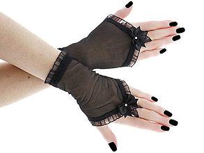 Iné doplnky - Dámské čierné spoločenské rukavice 012 - 10748393_