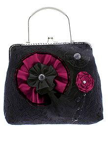 Kabelky - gothic dámská, kabelka spoločenská čipková kabelka čierná G3 - 10748488_