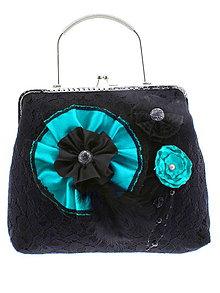 Kabelky - gothic dámská, kabelka spoločenská čipková kabelka čierná G4 - 10748499_