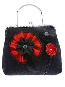 Kabelky - gothic dámská, kabelka spoločenská čipková kabelka čierná G5 - 10748521_