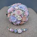 Svadobná sada kytica a polvenček zo suchých kvetov, fialovo pastelová