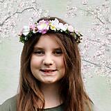 Venček do vlasov pastelový, ružový, fialový