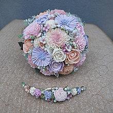 Kytice pre nevestu - Svadobná sada kytica a polvenček zo suchých kvetov, fialovo pastelová - 10745581_