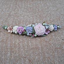 Ozdoby do vlasov - Prírodný pastelový, fialový polvenček - 10745633_