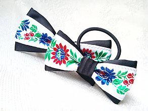 Iné doplnky - Folklórny set (pánsky motýlik + mašlička do vlasov) - 10747969_