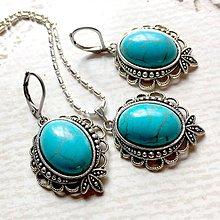 Sady šperkov - Filigree Tyrkenite Antique Silver Set / Sada šperkov s tyrkenitom - 10748046_