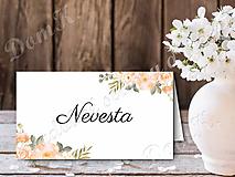 Papiernictvo - Menovka s marhuľovými kvetmi - 10747398_