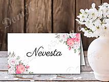 Papiernictvo - Menovka s ružovými kvetmi - 10747442_