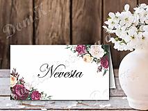 Papiernictvo - Menovka s bordovými kvetmi - 10747445_