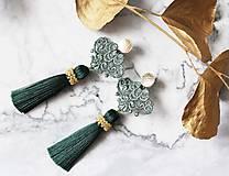 Náušnice - Náušnice so strapcom a čipkou. Smaragdové - 10746454_