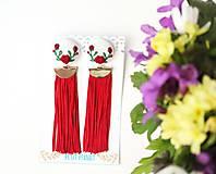 Náušnice - Púdrové ruže so strapcom - 10746475_