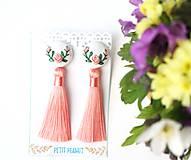 - Náušnice so strapcom a vyšívanými ružami - 10746563_