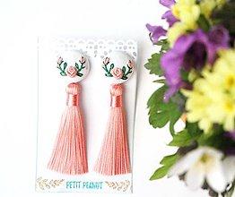 Náušnice - Náušnice so strapcom a vyšívanými ružami - 10746563_