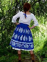Sukne - Suknica Biely folklór na modrej - 10747448_