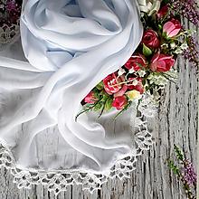 Šály - Nevinnost sněženek - bílý šifonový šál s krajkou - 10746262_