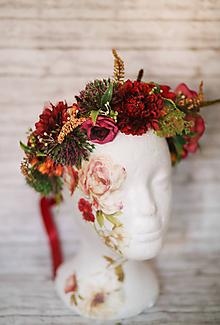 Ozdoby do vlasov - Veľký kvetinový červený venček z kolekcie LÚKA - 10748600_
