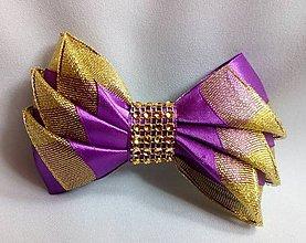 Ozdoby do vlasov - Sponka - mašľa (fialová so zlatou) - 10745057_