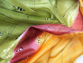 Šatky - Japonská zahrada /hedvábný šátek 75x75cm/ - 10746887_