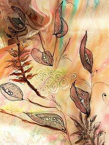 Šatky - Tichá zahrada / hedvábný šátek 75 x 75 cm/ - 10747484_