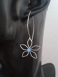 Náušnice - Velké květy - Tyrkenit - chirurgická ocel - 10746555_