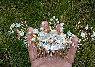 Ozdoby do vlasov - svadobný hrebienok do vlasov - ivory, zlatý - 10746126_