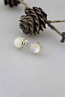 Náušnice - perleť náušnice napichovacie luxusné - 10747986_