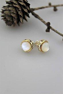 Náušnice - perleť náušnice napichovacie luxusné - 10748031_