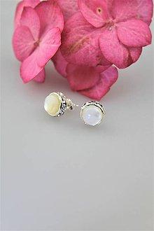 Náušnice - náušnice perleť napichovacie - 10748204_